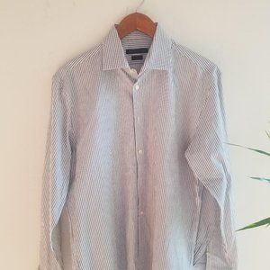 Amazing John Varvatos Mens Gray Stripe Dress Shirt
